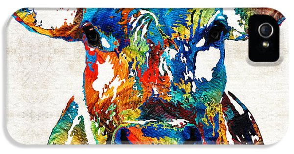 Colorful Cow Art - Mootown - By Sharon Cummings IPhone 5 Case by Sharon Cummings