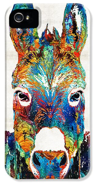 Colorful Donkey Art - Mr. Personality - By Sharon Cummings IPhone 5 Case by Sharon Cummings