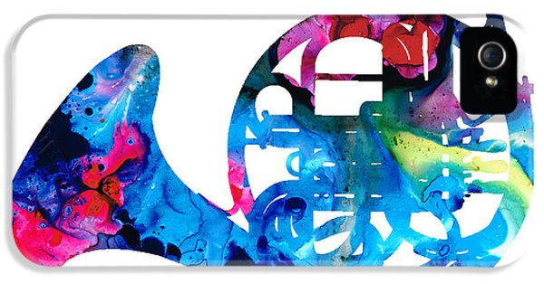 Colorful French Horn 2 - Cool Colors Abstract Art Sharon Cummings IPhone 5 Case by Sharon Cummings