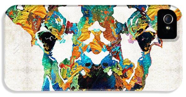 Colorful Giraffe Art - Curious - By Sharon Cummings IPhone 5 Case by Sharon Cummings