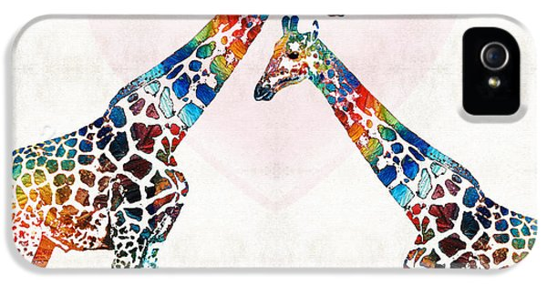 Colorful Giraffe Art - I've Got Your Back - By Sharon Cummings IPhone 5 / 5s Case by Sharon Cummings