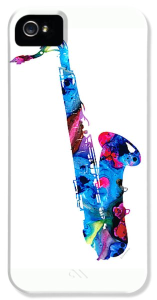 Saxophone iPhone 5 Case - Colorful Saxophone 2 By Sharon Cummings by Sharon Cummings