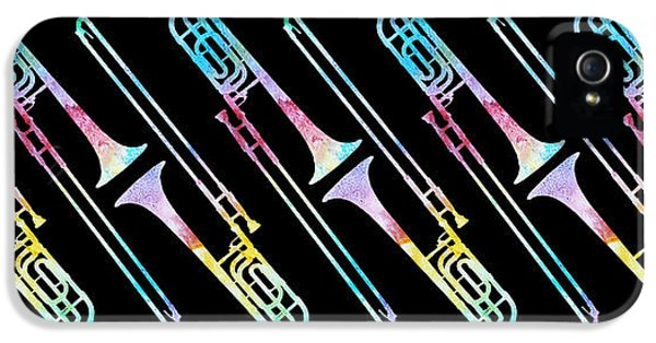 Trombone iPhone 5 Case - Colorwashed Trombones by Jenny Armitage