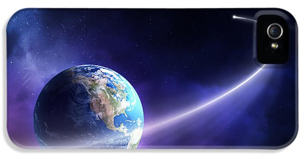 Comet Moving Past Planet Earth IPhone 5 Case by Johan Swanepoel