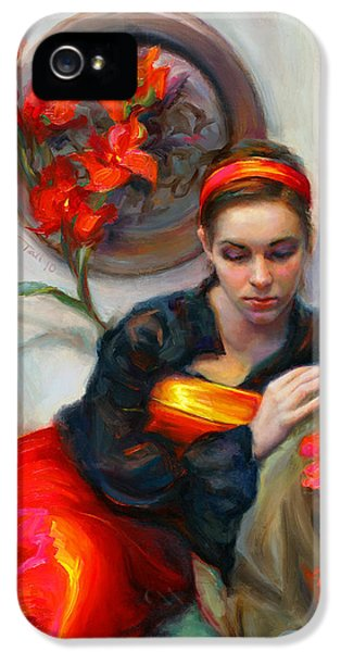 Common Threads - Divine Feminine In Silk Red Dress IPhone 5 / 5s Case by Talya Johnson