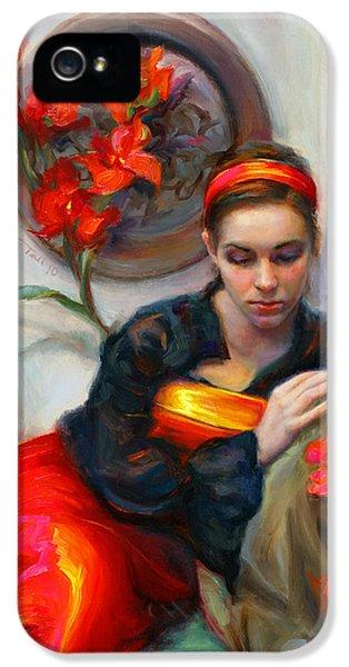 Common Threads - Divine Feminine In Silk Red Dress IPhone 5 Case