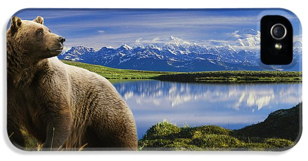 Composite Grizzly Stands In Front Of IPhone 5 Case by Michael Jones