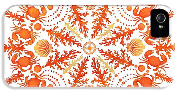 Coral Crab Mandala IPhone 5 Case by Stephanie Troxell