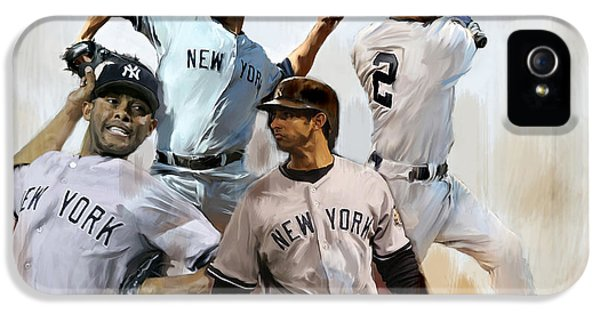 Derek Jeter iPhone 5 Case - Core  Derek Jeter Mariano Rivera  Andy Pettitte Jorge Posada by Iconic Images Art Gallery David Pucciarelli