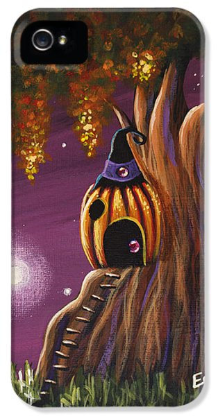 Cottage In The Woods Original Pumpkin Artwork IPhone 5 Case by Shawna Erback