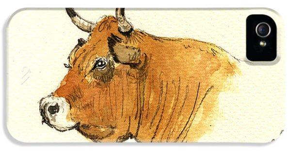 Bull iPhone 5 Case - Cow Head Study by Juan  Bosco