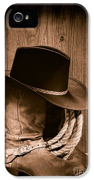 Cowboy Hat And Boots IPhone 5 Case by Olivier Le Queinec