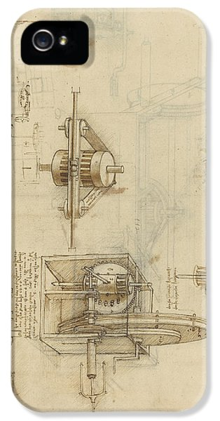 Pencil Drawing iPhone 5 Case - Crank Spinning Machine With Several Details by Leonardo Da Vinci