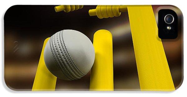 Cricket iPhone 5 Case - Cricket Ball Hitting Wickets Night by Allan Swart