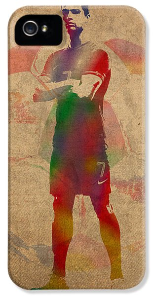 Cristiano Ronaldo Soccer Football Player Portugal Real Madrid Watercolor Painting On Worn Canvas IPhone 5 Case by Design Turnpike