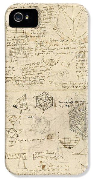 Cube Sphere Icosahedron Mention Of Known Project For Telescope  IPhone 5 Case by Leonardo Da Vinci