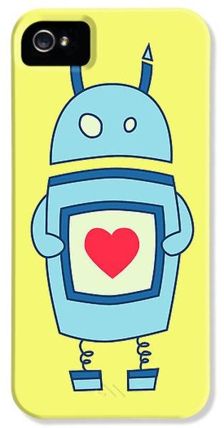 Cute Clumsy Robot With Heart IPhone 5 Case by Boriana Giormova