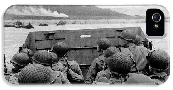 D-day Soldiers In A Higgins Boat  IPhone 5 Case by War Is Hell Store