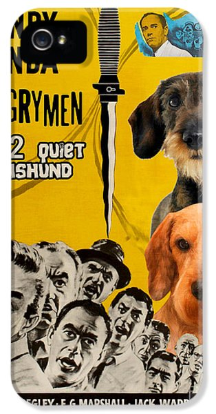 Dachshund Art Canvas Print - 12 Angry Men Movie Poster IPhone 5 Case by Sandra Sij