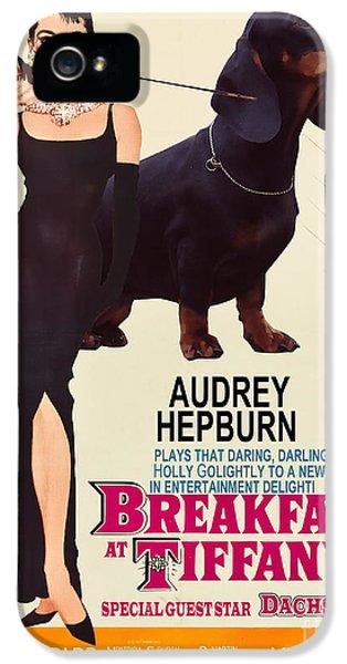 Dachshund Art Canvas Print - Breakfast At Tiffany Movie Poster IPhone 5 Case by Sandra Sij