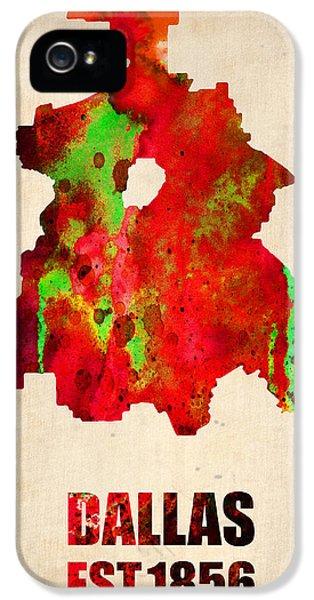 Dallas iPhone 5 Case - Dallas Watercolor Map by Naxart Studio