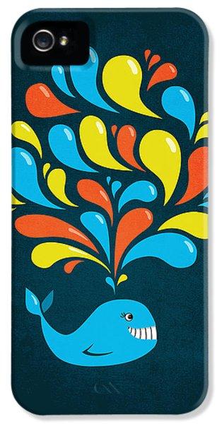 Dark Colorful Splash Happy Cartoon Whale IPhone 5 Case by Boriana Giormova
