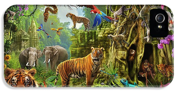 IPhone 5 Case featuring the drawing Dark Jungle Temple And Tigers by Ciro Marchetti