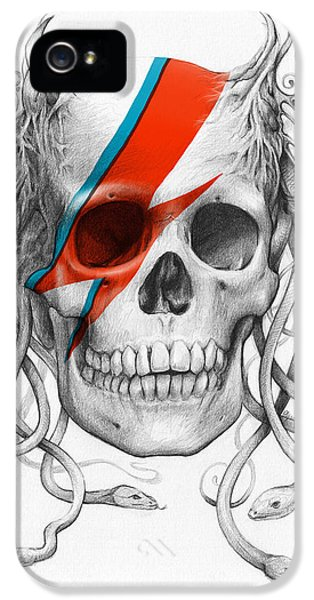 David Bowie Aladdin Sane Medusa Skull IPhone 5 Case by Olga Shvartsur