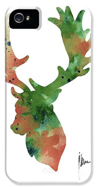 Deer Antlers Silhouette Watercolor Art Print Painting IPhone 5 / 5s Case by Joanna Szmerdt