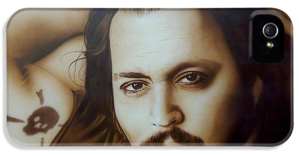Johnny Depp - ' Depp II ' IPhone 5 Case by Christian Chapman Art