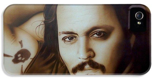 Johnny Depp iPhone 5 Case -  Depp II  by Christian Chapman Art