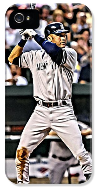 Derek Jeter iPhone 5 Case - Derek Jeter Painting by Florian Rodarte