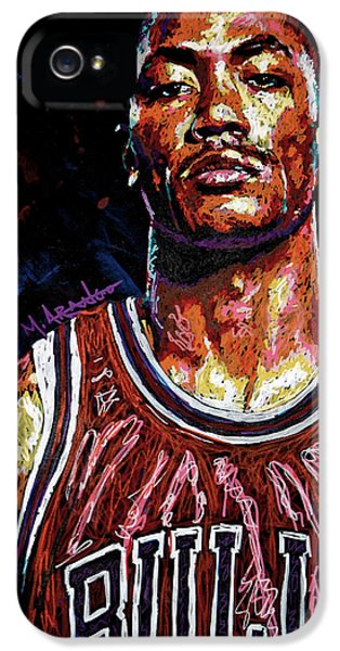 Derrick Rose-2 IPhone 5 Case by Maria Arango
