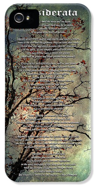 Desiderata Inspiration Over Old Textured Tree IPhone 5 Case