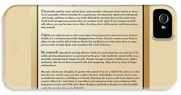 Desiderata Old English Square IPhone 5 Case by Christina Rollo