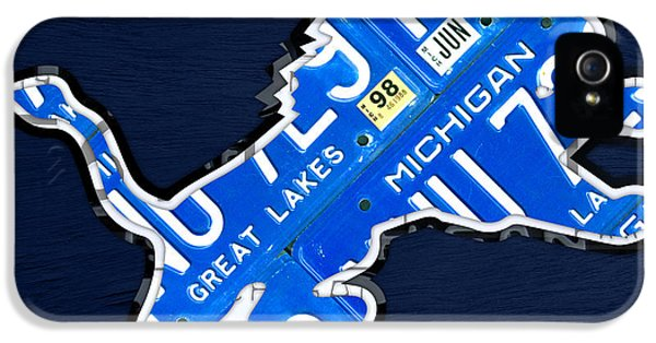 Detroit Lions Football Team Retro Logo License Plate Art IPhone 5 Case
