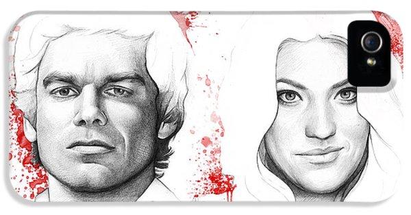 Dexter And Debra Morgan IPhone 5 Case by Olga Shvartsur