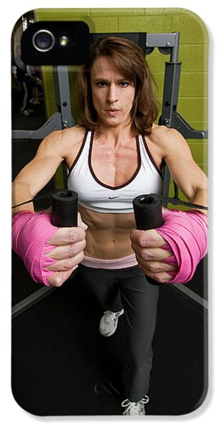 Breathe iPhone 5 Case - Diane Hodges A Woman Boxer Training by Tom Bear