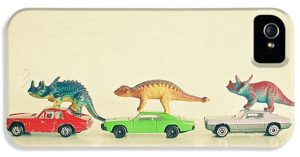Dinosaurs Ride Cars IPhone 5 Case by Cassia Beck