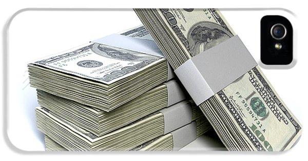 Dollar Bill Bundles Pile  IPhone 5 Case by Allan Swart