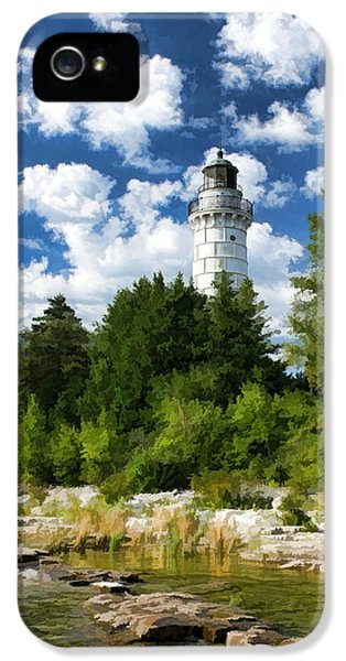 Cana Island Lighthouse Cloudscape In Door County IPhone 5 Case by Christopher Arndt