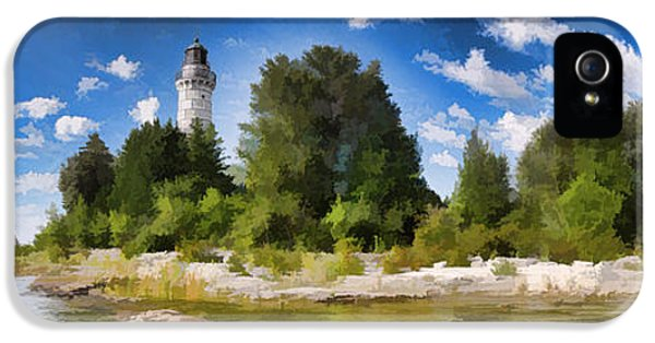 Door County Cana Island Lighthouse Panorama IPhone 5 Case by Christopher Arndt