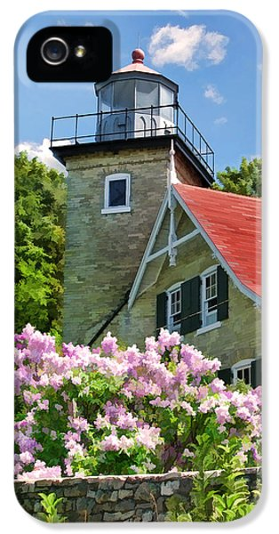 Door County Eagle Bluff Lighthouse Lilacs IPhone 5 Case by Christopher Arndt