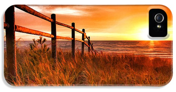 Door County Europe Bay Fence Sunrise IPhone 5 Case by Christopher Arndt