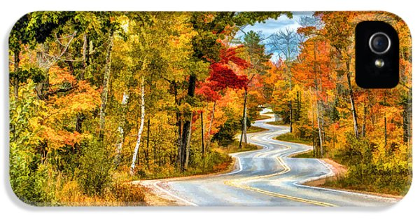 Door County Road To Northport In Autumn IPhone 5 Case by Christopher Arndt