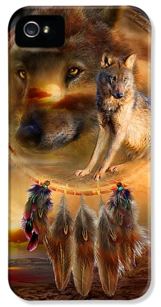 Wolf iPhone 5 Case - Dream Catcher - Wolfland by Carol Cavalaris