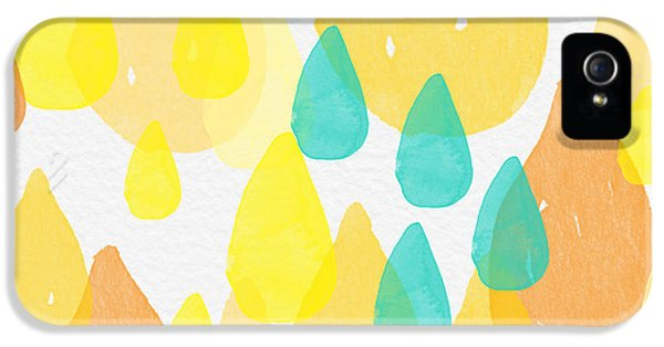 Drops Of Sunshine- Abstract Painting IPhone 5 Case by Linda Woods