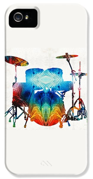 Drum iPhone 5 Case - Drum Set Art - Color Fusion Drums - By Sharon Cummings by Sharon Cummings