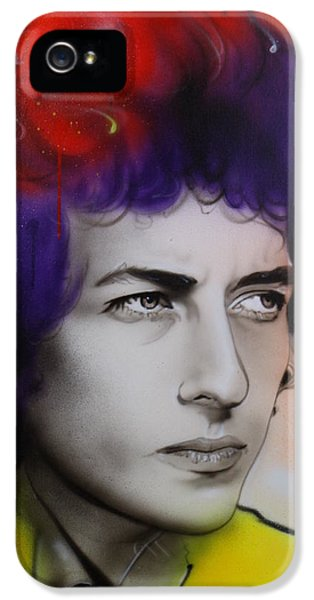 Bob Dylan - ' Dylan ' IPhone 5 Case by Christian Chapman Art