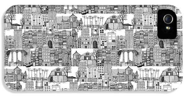 Dystopian Toile De Jouy Black White IPhone 5 Case by Sharon Turner